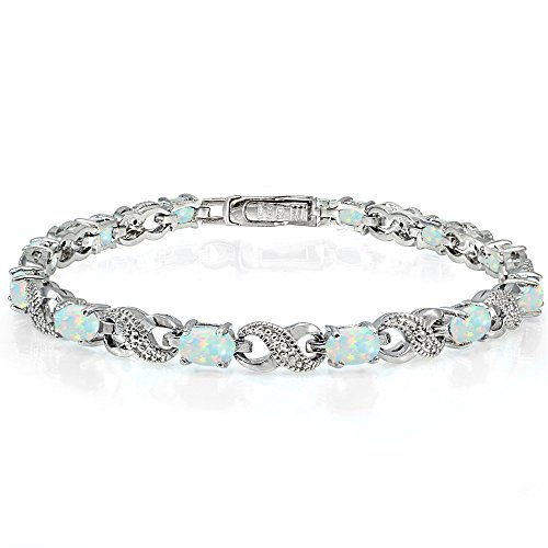 (Ice Gems Sterling Silver Created White Opal Accent Infinity Tennis Bracelet)