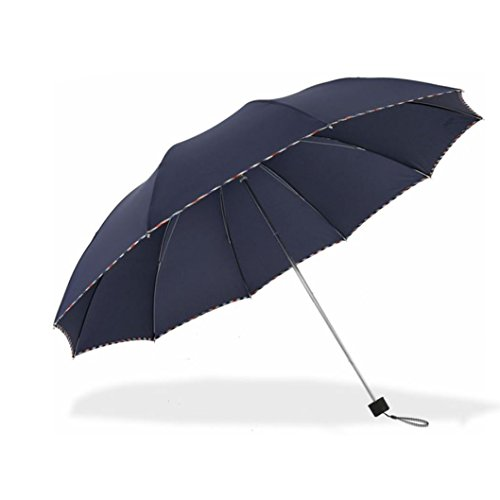 Travel Foldable Umbrella with 10 steel ribs Windproof Compact Lightweight Fast Dry for women and men (navy) by Aviss