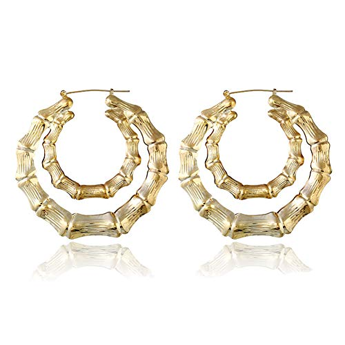 Large Bamboo Joint Hoop Earrings Hip-Hop Golden Big Circle Studs Earrings For Women Punk Party Fashion Jewelry (Double Circle)