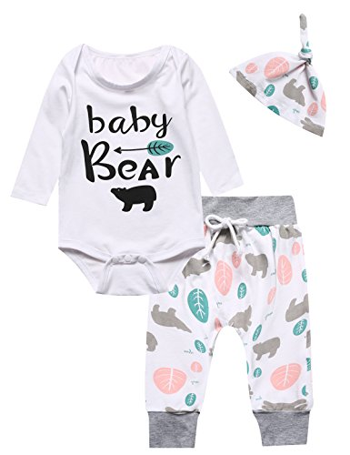 Catmama Outfit Set 3PCS Baby Boys' Baby Bear Long Sleeve Rompers (0-3 Months)