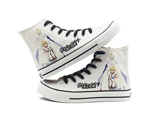 Seraph Of The End Anime Canvas Shoes Cosplay Shoes Sneakers Black/White White 11 01mUs