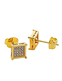 Bala Earrings Stud Square CZ Jewerly for men 7mm