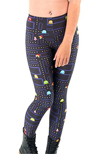 Womens Pacman Game Cartoon Printing Summer Breathable Leggings Free Size ()