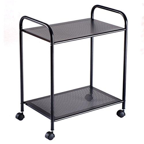 2 Tiers New Black Storage Display Rack Mesh Shelf Home Kitchen Bathroom Organizer W/Wheels by totoshopkitchen
