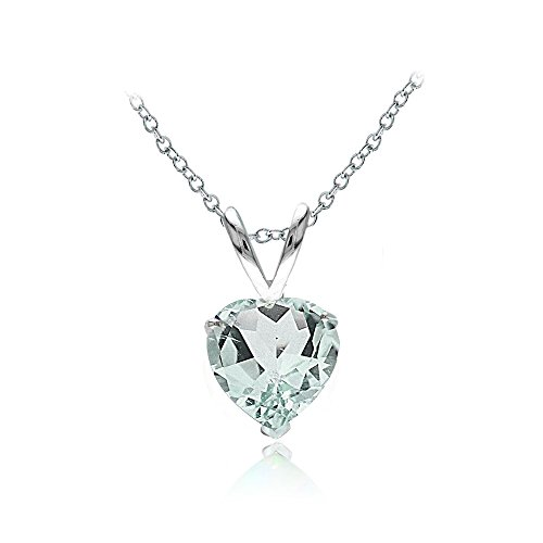 Sterling Silver Aquamarine 7mm Heart Solitaire - Pendant Aquamarine Necklace