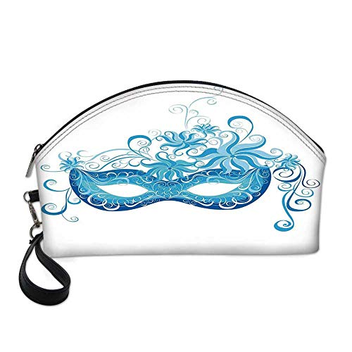 Masquerade Small Portable Cosmetic Bag,Venetian Style Mask Majestic Impersonating Enjoying Halloween Night Theme For Women,One size -