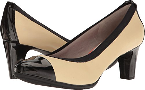 Rockport Women's Melora Gore Captoe Dress Pump, Tan/Black, 8 N US (Pump Women Tan)