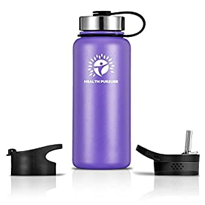 Stainless Steel Water Bottle & Thermos: ​32 Oz.​ Double Walled Vacuum Insulated Wide Mouth Travel Tumbler, Reusable BPA Free Twist Lid Bottles for Hot or Cold Liquid: Bonus Flip & Straw Lids - ​Purple
