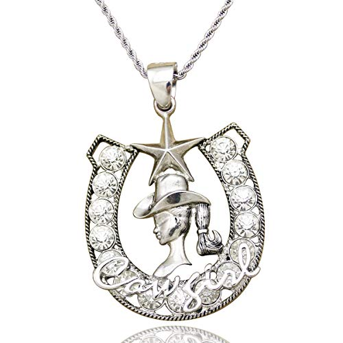 RechicGu Vintage Silver Western Cowgirl Crystal Horse Shoe Texas Ranger Star Rodeo Twisted Rope Chain -