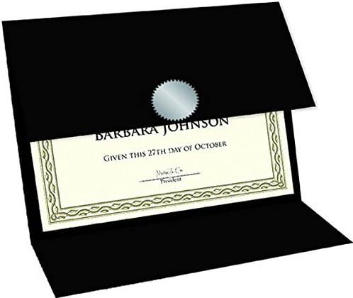 5//Pack 9.25 x 12.5 Linen Texture 47838 Geographics Tri Fold Black Certificate Holder