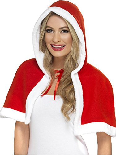 Adult Women's Miss Santa Claus Mini Cape Costume Accessory Red