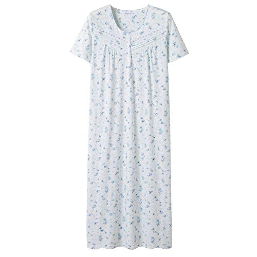 - Keyocean Nightgowns for Women All Cotton Short Sleeve Long Nightgowns Soft Lightweight Sleepwear, Plus Size, Blue Floral