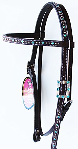 PRORIDER Horse Saddle Tack Bridle Western Leather Headstall Brown Turquoise Bling 78177TR ()