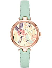 Women's 'Holland' Quartz Stainless Steel and Leather Casual Watch, Color:Green (Model: KSW1414)