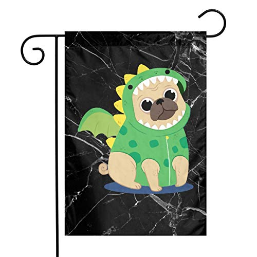 Pug Dog Wearing A Dragon Costume Fashion Home Backyard Demonstration Flag Celebration Garden Flag 12