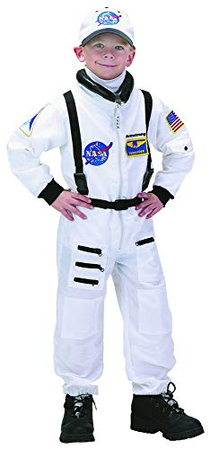 Aeromax PERSONALIZED Jr. Astronaut Suit with Embroidered Cap and NASA patches, WHITE, size 6/8