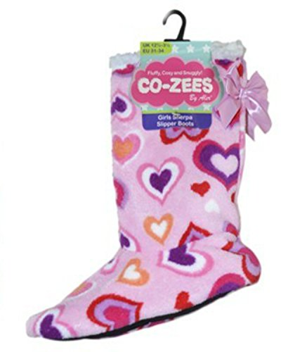Girl's Hearts Indoor Slipper Boots Various Colours & Sizes Pink 4vYE8JJ