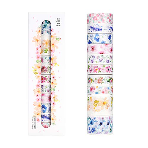 Molshine Set of 10 Washi Masking Tape, Sticky Paper Tape for DIY, Decorative Craft, Gift Wrapping, Scrapbook - Unheard of Flower Name Collection(0.6in x 3.3yd x 8rolls,1.2in x 3.3yd x 2rolls) -