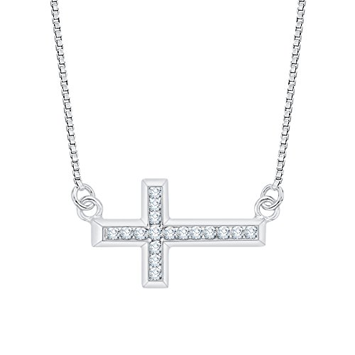 Channel Set Diamond Cross Pendant - Channel Set Diamond Sideways Cross Pendant Necklace in 14k White Gold (1/4 cttw) (Color JK, Clarity I1-I2)