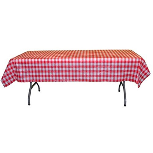 Exquisite 40 Inch. x 100 Ft. Gingham Plastic Tablecloth Roll, Checkerboard Design Disposable Table Cover Roll (Red Gingham)