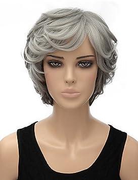 DSLIGNde color gris claro y rizado pelucas sintéticas cortas de la mujer . grey