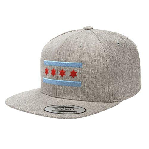 Chicago Flag Hats B Premium Classic Snapback Yupoong Flexfit 6089 (Heather ()