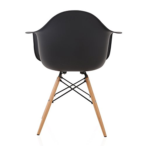 DAW Nordic Black Molded Plastic Dining Arm Chair with Beech Wood Eiffel Legs by CozyBlock (Image #4)