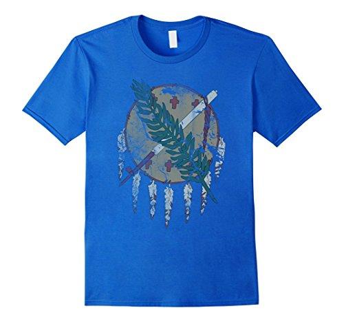 Tee Oklahoma - Men's Vintage Grunge Flag of Oklahoma Patriotic T Shirt XL Royal Blue
