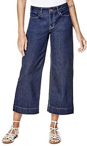 GUESS Amber High-Rise Cropped Denim Culottes with Silicone Rinse