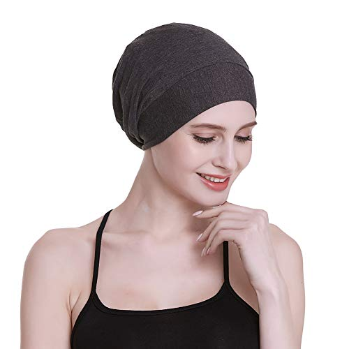 FocusCare Satin Lined Sleep Cap Casual Slouchy Bonnet Headwear Curly Hair Beanie Dark Heather Gray