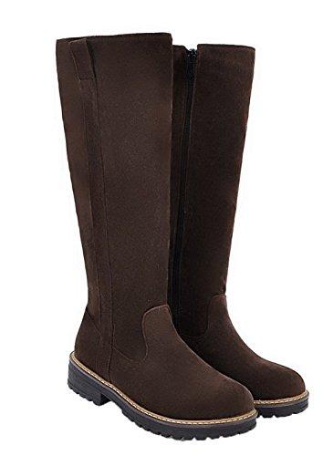 Mujer EuX106 Tacón Boots AgeeMi Puntera Cremallera Shoes Grueso Marrón Redonda Mini Tacón qwnTSRB5x