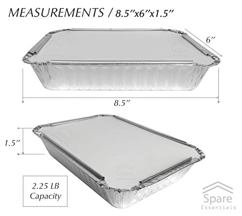 55 Pack - 2.25 LB Aluminum Pan/Containers with Lids/To Go Containers/Aluminum Pans with Lids/Take Out Containers/Aluminum Foil Food Containers From Spare - 2.25Lb Capacity 8.5'' x 6'' x 1.5'' by Spare Essentials (Image #2)