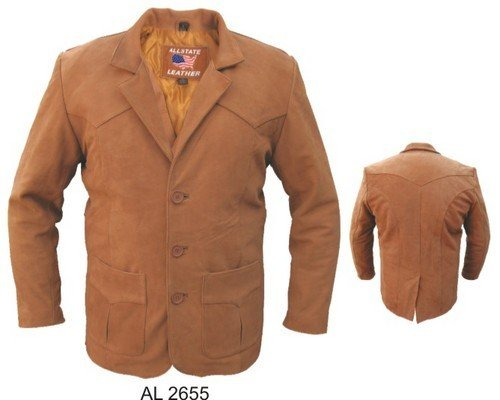 - THREE BUTTON Mens BROWN PREMIUM BUFFALO Leather COAT Jacket Sizes 42-52