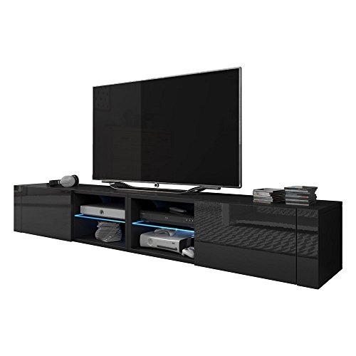 Meble Furniture & Rugs TV Stand Best Matte Body High Gloss Doors Modern TV Stand LED (Black, 79