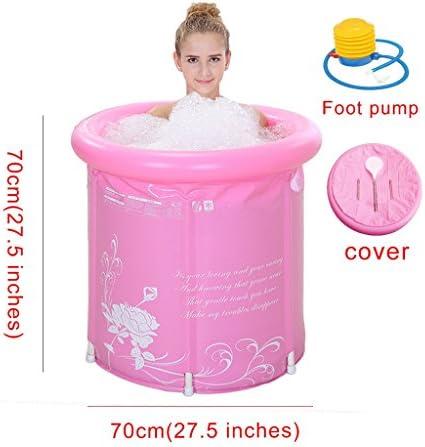 厚い水折りたたみ浴槽アダルト風呂インフレータブル浴槽浴バレルバスタブバースバケット (Color : PINK)