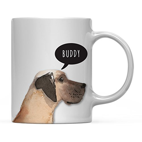 Andaz Press Personalized 11oz. Dog Coffee Mug Gift, Great Dane Up Close, 1-Pack, Custom Name, Pet Animal Lover Birthday Christmas Gift for Her Family