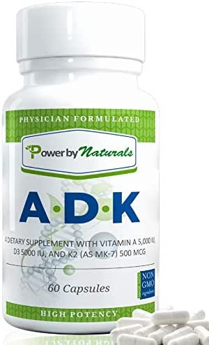 PbyN - ADK Vitamin - Dr Formulated - Purest, High Potency Vitamin A 5000 iu D3 5000 iu K2 (as MK-7) 500mcg, Supplement for Strong Bone, Immune, and Heart Health, Non GMO,No Soy, 60 Veggie Capsules