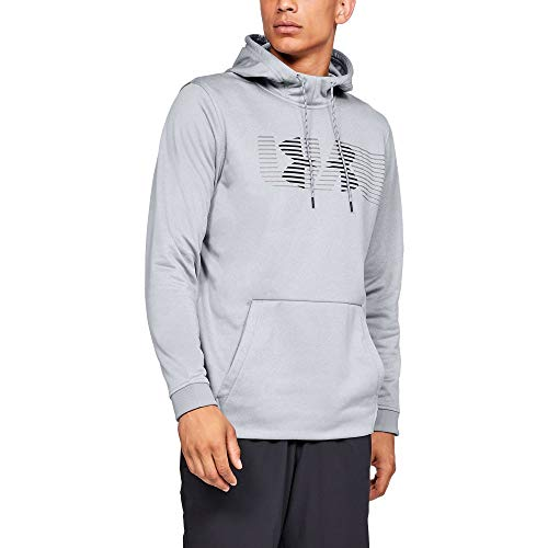 Under Armour Men's Armour Fleece Spectrum Pullover Hoodie, Steel Light Heather (035)/Black, X-Large
