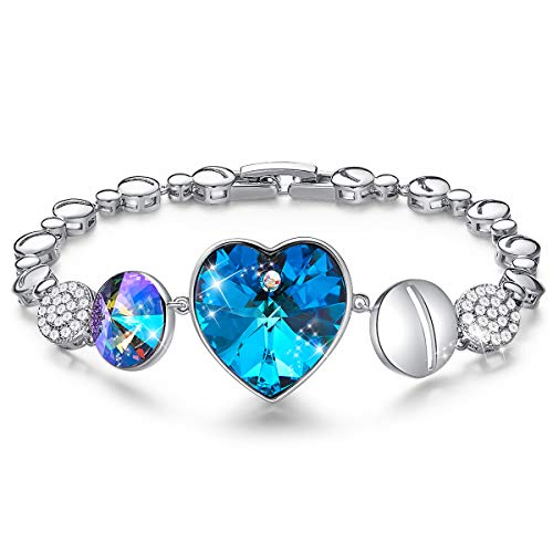 CDE Heart of Ocean Embellished with Crystals from Swarovski Bracelet for Women 18k White Gold Plated Jewelry Fashion Bracelets Gift for Her
