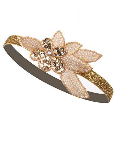 Vijiv Rose Gold Beaded Headband Headpiece Vintage 1920s Great Gatsby Flapper]()