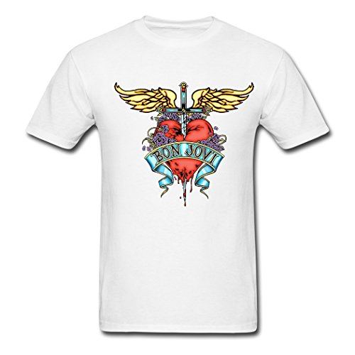 Custom Cool Bon Jovi Band Love The Wings Of The Angel Printed Men White Cotton Short Sleeve Casual Crew Neck Slim T Shirt - Angels Heavyweight T-shirt