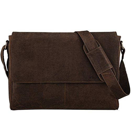 STILORD 'Oskar' Messenger Bag Piel Hombres Mujeres bolso de hombro del ordenador portátil Bolso Bandolera de 15.6 pulgadas de cuero marrón, Color:marrón - medio marrón - medio