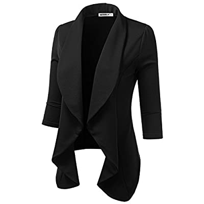 Doublju Womens Lightweight Classic Draped Open Front Blazer with Plus Size: Clothing
