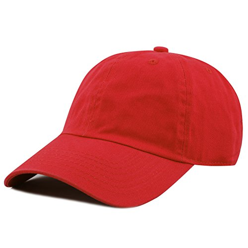 deae2e52691ea THE HAT DEPOT 300N Washed Low Profile Cotton and Denim Baseball Cap (Red)