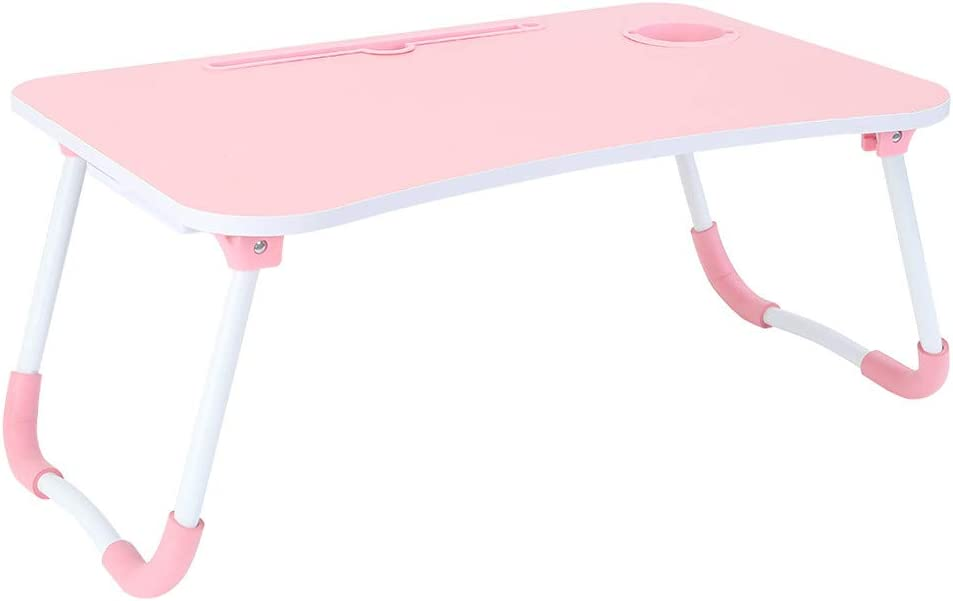 OCCOKO Foldable Laptop Table for Bed, Small Portable Notebook Computer Stand Reading Holder for Couch Floor, Breakfast Tray, Book Holder (A-Pink, 23.6x15.7x11 inches)