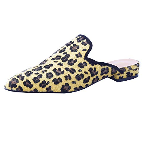 MAVIRS Mules for Women, Women Animal Print Suede Mule Slippers, Woman Slip on Backless Slides Loafers Leopard Suede Size 9
