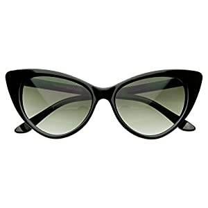 AStyles - Super Cateyes Vintage Inspired Fashion Mod Chic High Pointed Cat Eye Sunglasses Glasses (Black)