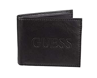 GUESS mens Rfid Security Blocking Leather Wallet Bi-Fold Wallet - black - One Size