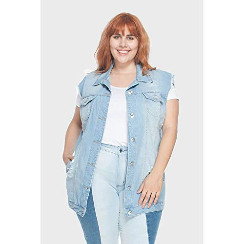 Colete Oversized Delavê Upcycle Plus Size Azul-54