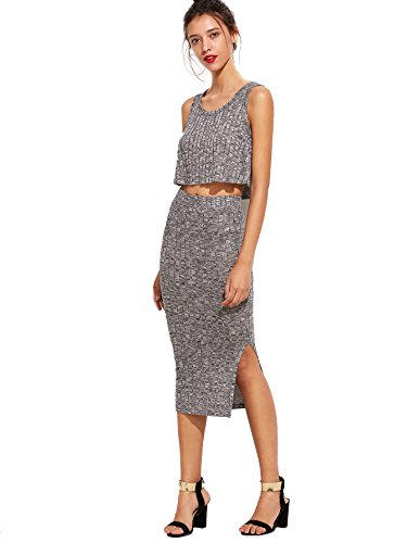 Romwe Women's 2 Piece Crop Tank Top with Skirt Set Sleeveless Bodycon Mini Dress 1-Gray Medium by Romwe